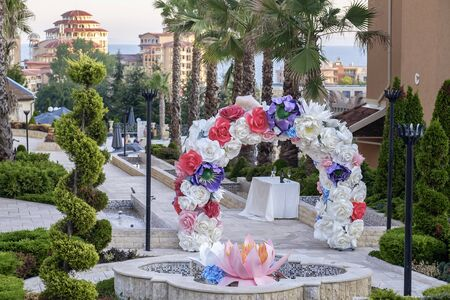 Arch made of flowers and decorations for the wedding ceremony 7