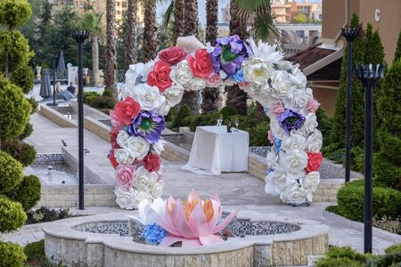 Arch made of flowers and decorations for the wedding ceremony 8