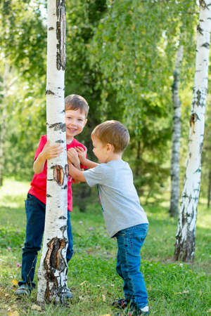 children jostle. 2 boys are pushing each other. Boyish games. Fraternal relationships. The younger brother is a hooligan. Outdoor games