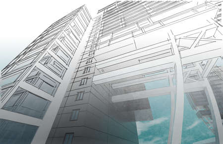 implementation: Sketch of the business center. From drawing to implementation. Stock Photo