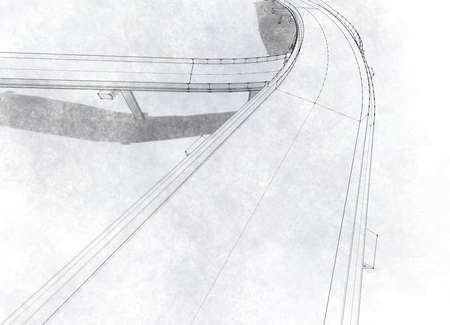 Sketch of the bridge project, in pencil. photo