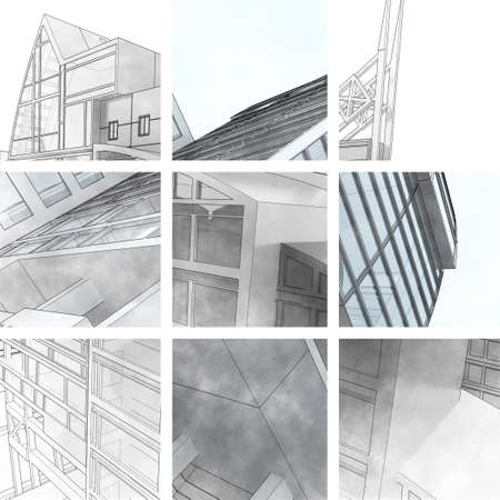 Collage sketch of a city street, business center. photo
