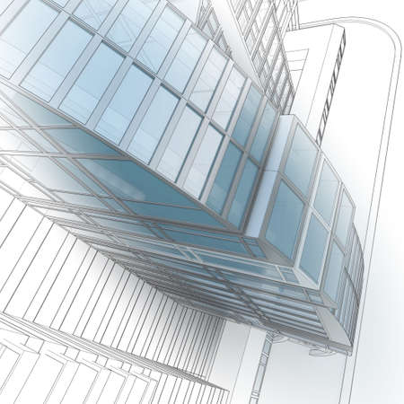 Sketch of a city street, business center. photo