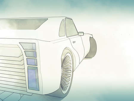 Sketch retro car photo
