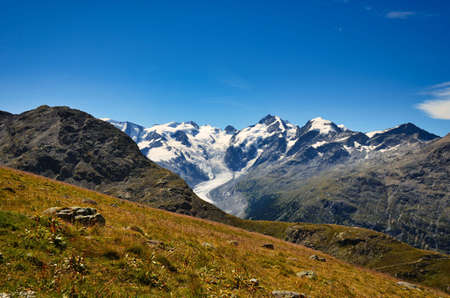 hike to the piz languard in engadin with a view of the morteratsch glacier