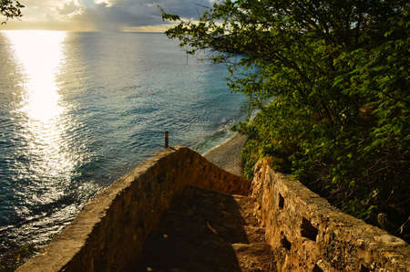 stairs to beautiful beach on the caribbean island of bonaire