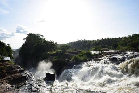 Murchison Falls National Park Uganda, white water, rocks, roaring water in beautiful green forest