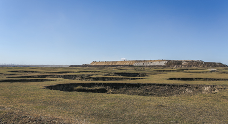 The Inner Mongolia Autonomous Region, China - Hulun Buir City, hole collapse in September 29, 2012 by Baorixile coal small coal pits abandoned