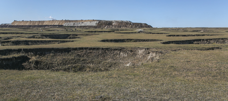 pit fall: The Inner Mongolia Autonomous Region, China - Hulun Buir City, hole collapse in September 29, 2012 by Baorixile coal small coal pits abandoned