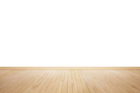 white wood floor: wood floor isolated. Wood floor textured pattern background. empty white wall backdrop: Isolated wooden floor on white colour toned background. Oak wood floor with white wall