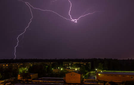 voltaic: Lightning over the sky in Moscow Region Stock Photo