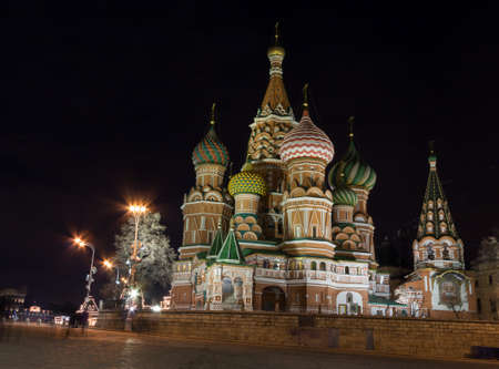 st  basil: Night view of St. Basil Cathedral in Moscow Red Square Stock Photo