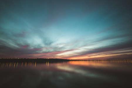volga: Dramatic sunset over Volga River, Ulyanovsk