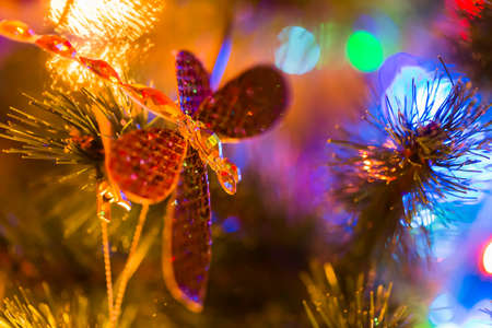suddenness: Dragonfly toy on christmas tree with magic lights