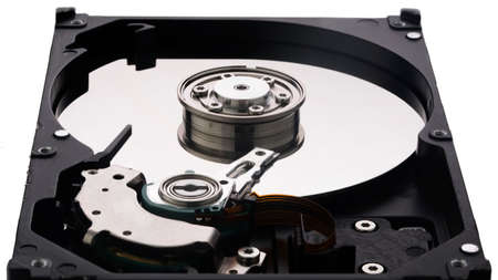 platters: Hard disk platter and platters clamp isolated on white