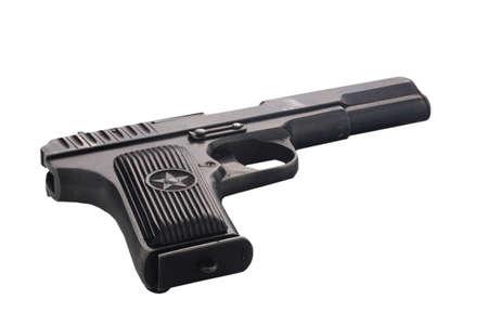Soviet old pistol isolated on white background Stock Photo