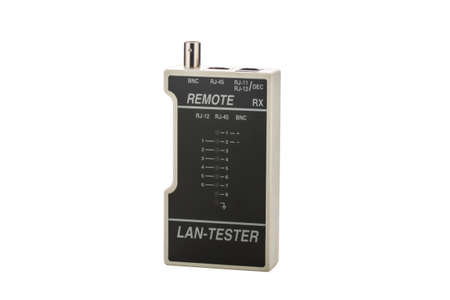 communications tools: Isolated equipment for testing the LAN on white backgound Stock Photo