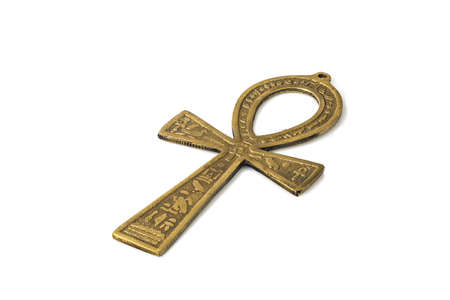 ankh cross: Egyptian symbol of life Ankh isolated on white background with shadows Stock Photo
