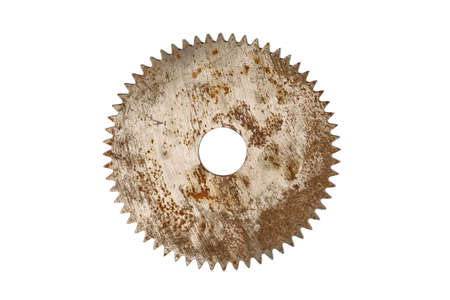 stainless steal: Rusty circular saw blade, isolated on white background