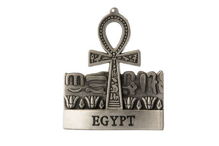 ankh: Silver colored Egyptian symbol of life Ankh with Egypt label isolated on white background