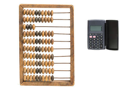 current account: Accounting concept. Vintage accounts fig and calculator isolated on white background