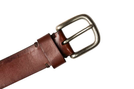 fastening objects: Retro leather belt with metal clasp isolated on white background