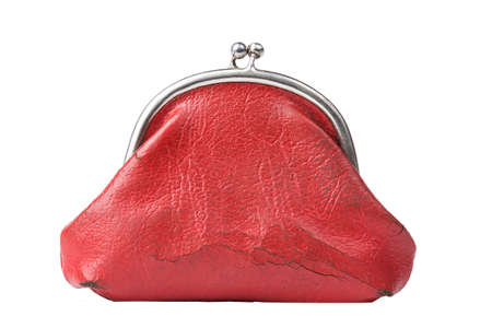 change purse: Vintage red change purse isolated on white