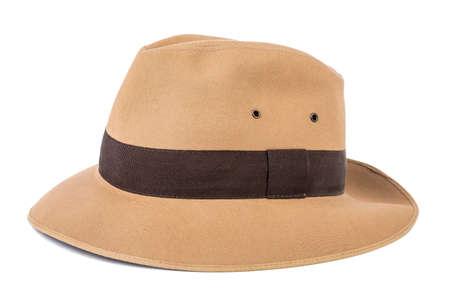 fedora: Adventure concept. Fedora hat isolated on white. Stock Photo