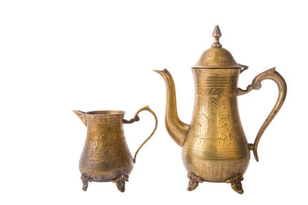 Some turkish vintage coffee pots isolated on white background