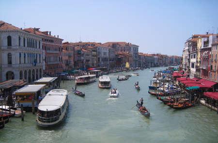 rialto: View from Rialto bridge in Venice, Italy. Stock Photo