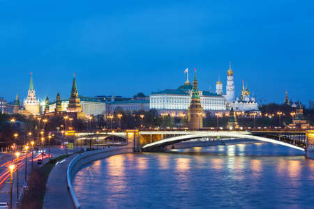 View of Kremlin during blue hour in Moscow, Russia.