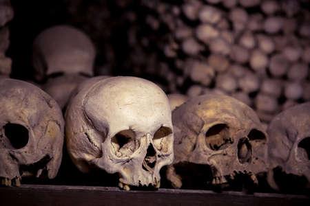 Human bones and skulls in Ossuary. Kostnice Church in Kutna Hora, Czech republic.