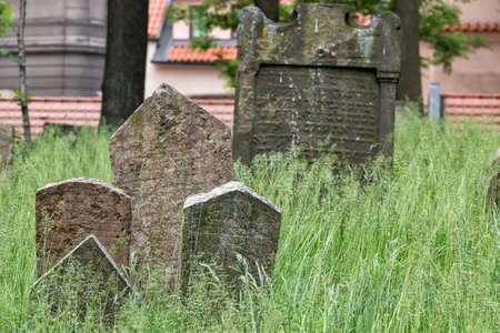 Headstones in the Jewish cemetery in Prague Czech republic. Stock fotó