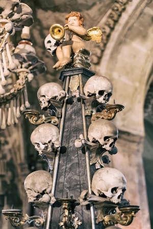 Ancient human skull and bone decoration in Sedlec, Czech republic. Kutna Hora. Stock Photo