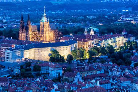 Prague, blue hour view of Prague Castle and Saint Vtus cathedral in Czech Republic.