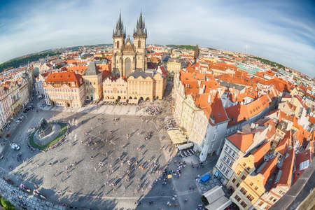 PRAGUE, CZECH REPUBLIC - MAY 2017: Buildings on the Old Town square Staromestska Namesti in Prague, Czech Republic. Fish-eye lens
