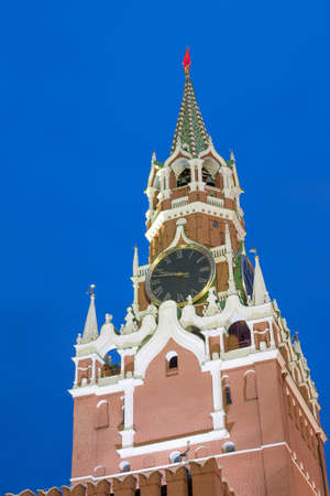 spasskaya: Spasskaya Tower Of Kremlin On Red Square In Moscow, Russia. Blue hour sunset view. Stock Photo