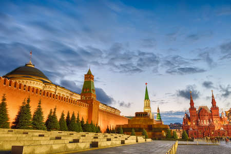 Sunset blue hour view of the Red Square, Moscow Kremlin, Lenin mausoleum, historican Museum in Russia. World famous Moscow landmarks for tourism and travel.