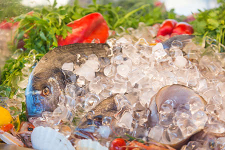 foodies: Fresh seafood. Fish, herbs and pepper on ice at traditional seafood restaurant in Venice, Italy. Outdoor terrace