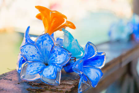 Traditional flower glass decorations in Murano island near Venice, Italy. 스톡 콘텐츠
