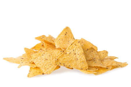 background texture: A pile of cheese covered tortilla chips isolated on white background. Nachos mexican cuisine Stock Photo