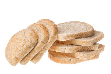 Tasty sliced fresh bread pieces isolated on white background