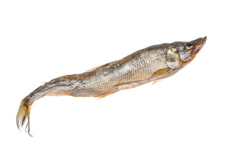 Dried smelt candle fish fish isolated on white background. Stock Photo