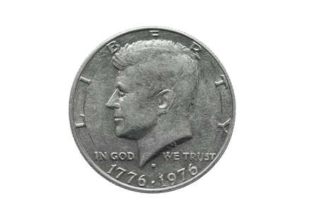 American old coin worth half dollar US with John Kennedy portrait. Extreme close up macro shot. isolated on white. Imagens