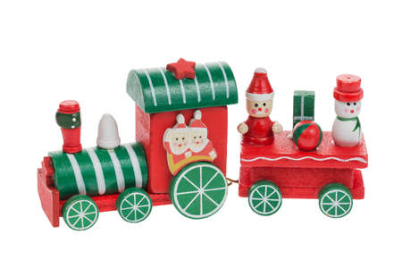 christmas train and snowman with santa and friends isolated on white background chrtistmas decoration