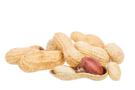 Roasted peanuts snack isolated on a white background. Close up image. Stock Photo