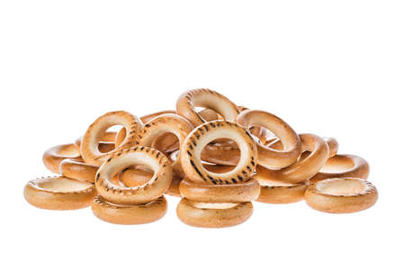 Ring Shaped Bread Rolls Bagels Baranka from Russia Isolated on White Background.
