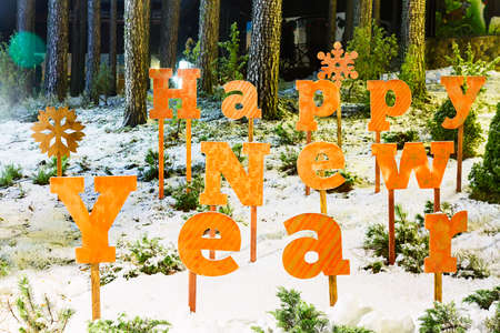 Happy new year letters close up in winter forest village.