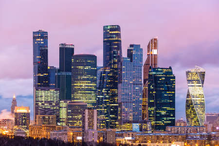 Evening view of the Moscow International Business Center Moscow-City, Russia. Many companies and headquarters reside here 免版税图像