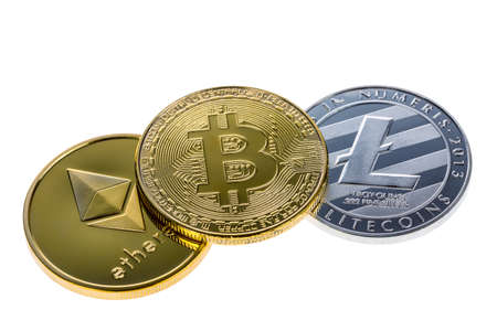 Bitcoin, ethereum and litecoin coins isolated on white background. Close up with selective focus. Фото со стока